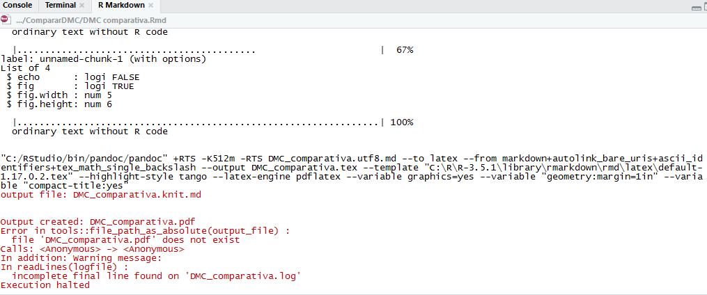 Error a la hora de convertir un informe rmarkdown a pdf