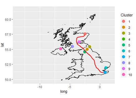 Mapa con las ciudades de UK